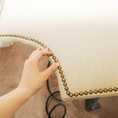 Nailhead Trim Upholstered Headboard Tutorial {Bedding}