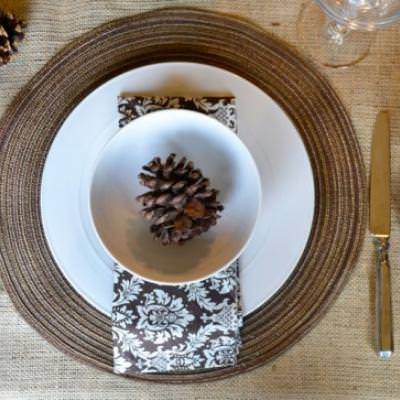 Natural Neutral Thanksgiving Place Setting {Thanksgiving Table}