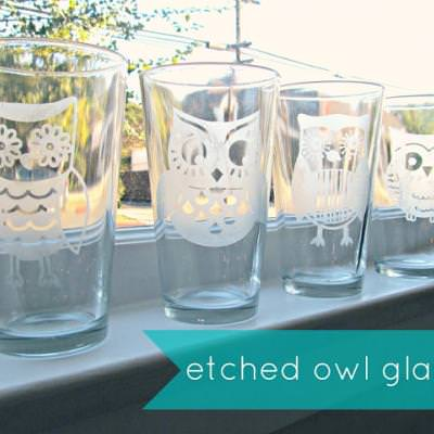 Owl Etched Glasses {Kitchen Accessories}