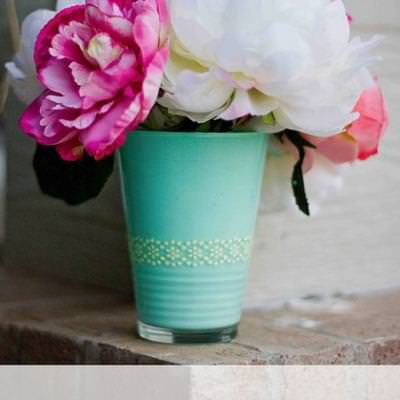 Painted Drinking Glass Vase