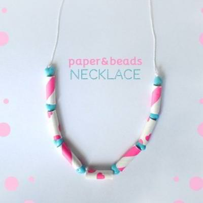 Paper Straw and Bead Necklace {DIY Necklace}
