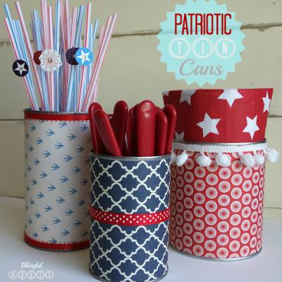 Patriotic tin cans holiday crafts tip junkie for Christmas crafts out of tin cans