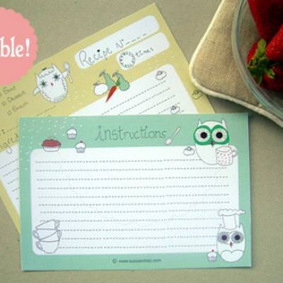 Printable Owl Themed Recipe Cards {Fillable}