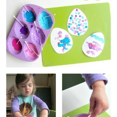 Q-Tip Painted Eggs {Kids Holiday Craft}
