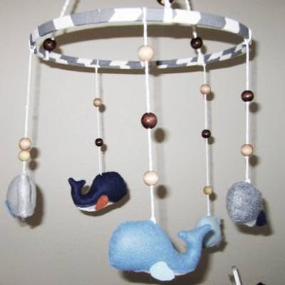 Stuffed Whale Mobile {Nursery}
