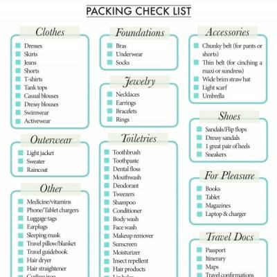 vacation list for packing