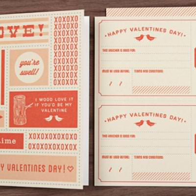 Valentines Day Card and Matching Coupons {Valentines Printables}