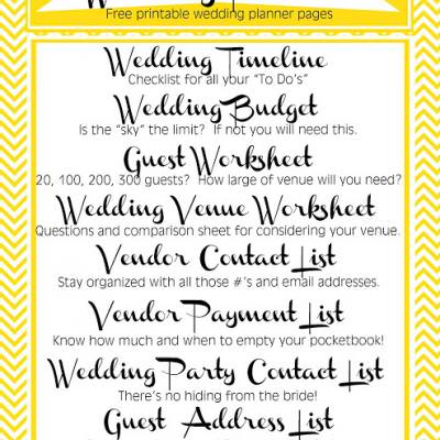 Wedding Planner {free printables}