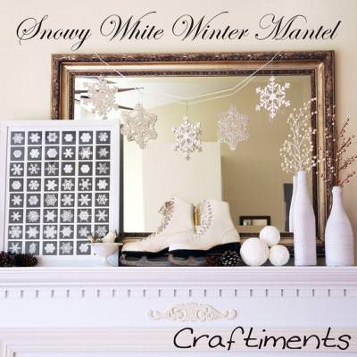 Winter White Mantel Decor {Fireplaces}