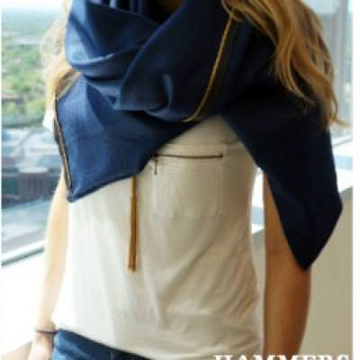 Zipper Trimmed Scarf {Accessories}
