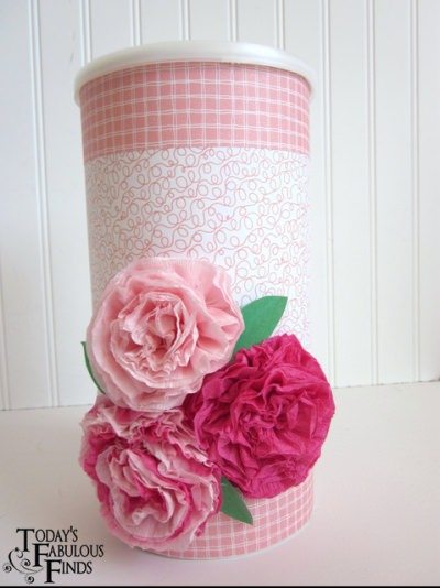 Valentine Box with Crepe Paper Flowers
